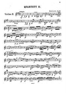 Streichquartett Nr.2 in A-Dur, Op.13: Violinstimme II by Felix Mendelssohn-Bartholdy