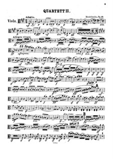Streichquartett Nr.2 in A-Dur, Op.13: Violastimme by Felix Mendelssohn-Bartholdy