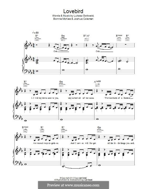Lovebird (Leona Lewis): Für Stimme und Klavier (oder Gitarre) by Bonnie McKee, Joshua Coleman, Lukas Gottwald