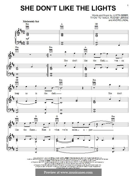 She Don't Like the Lights: Für Stimme und Klavier (oder Gitarre) by Andre Lindal, Justin Bieber, Rodney Jerkins