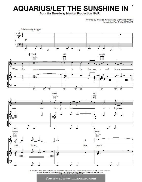 Aquarius / Let The Sunshine In (The Fifth Dimension): Für Stimme und Klavier (oder Gitarre) by Galt MacDermot