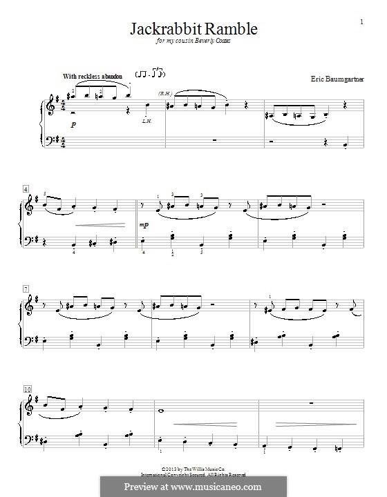 Jackrabbit Ramble: Für Klavier by Eric Baumgartner