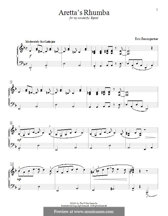 Aretta's Rhumba: Für Klavier by Eric Baumgartner