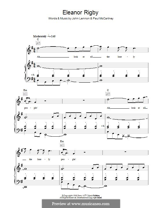 Eleanor Rigby (The Beatles): Für Stimme und Klavier (oder Gitarre) by John Lennon, Paul McCartney