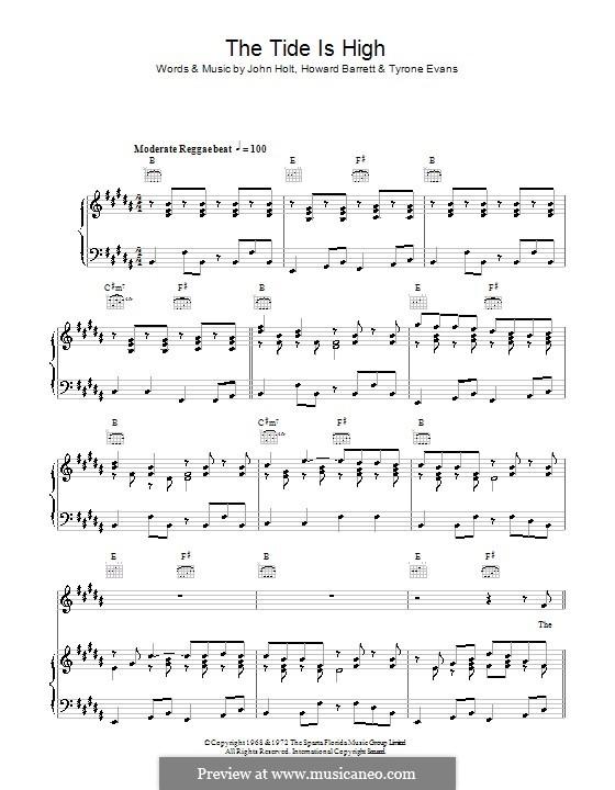 The Tide is High (Blondie): Für Stimme und Klavier (oder Gitarre) by Howard Barrett, John Holt, Tyrone Evans