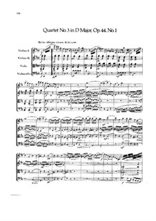 Streichquartett Nr.3 in D-Dur, Op.44 No.1: Vollpartitur by Felix Mendelssohn-Bartholdy