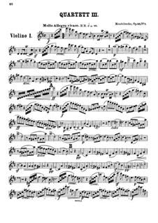 Streichquartett Nr.3 in D-Dur, Op.44 No.1: Violinstimme I by Felix Mendelssohn-Bartholdy