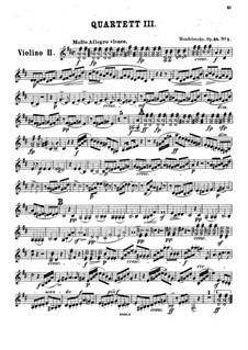Streichquartett Nr.3 in D-Dur, Op.44 No.1: Violinstimme II by Felix Mendelssohn-Bartholdy