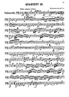 Streichquartett Nr.3 in D-Dur, Op.44 No.1: Cellostimme by Felix Mendelssohn-Bartholdy