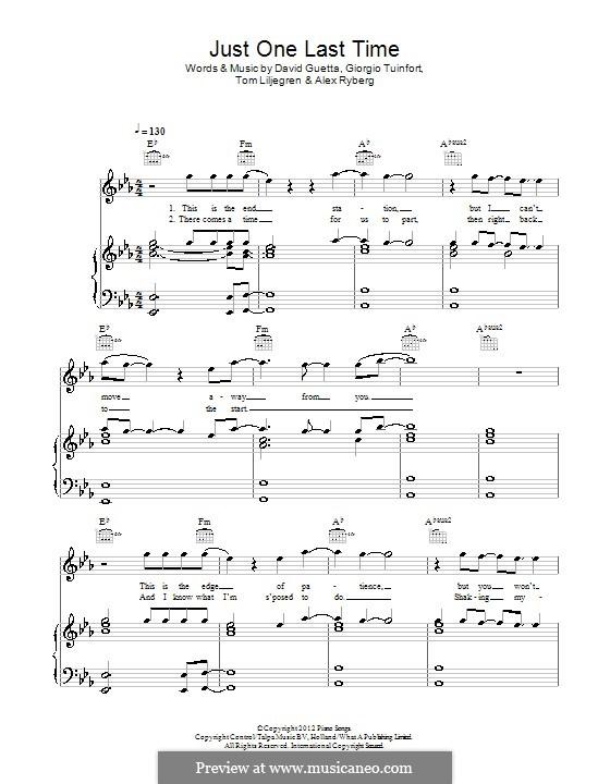 Just One Last Time: Für Stimme und Klavier (oder Gitarre) by David Guetta, Giorgio Tuinfort, Alex Ryberg, Tom Liljegren
