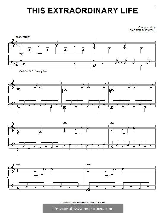 This Extraordinary Life: Für Klavier by Carter Burwell