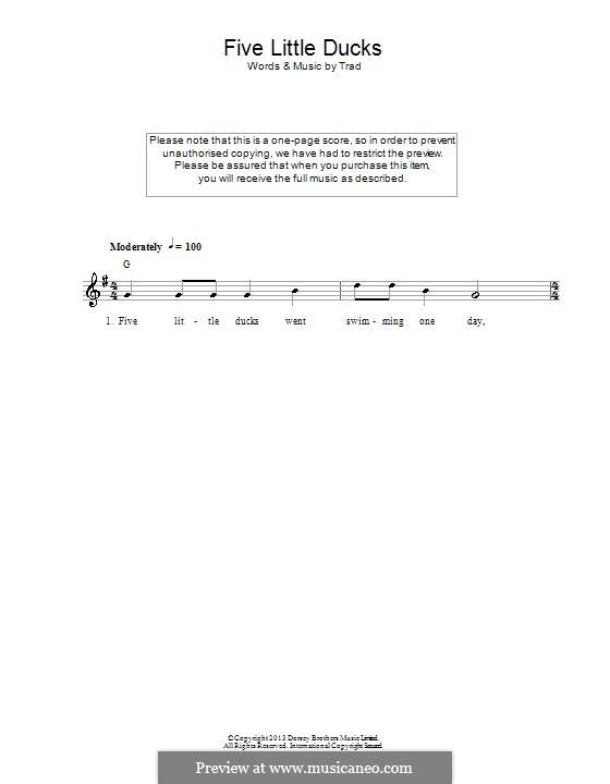 Five Little Ducks: Texte und Akkorde by folklore