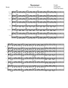 Violinkonzert Nr.2 in g-Moll 'Sommer', RV 315: Movement I, for school string orchestra – score by Antonio Vivaldi