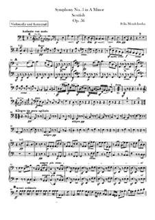Sinfonie Nr.3 in a-Moll 'Schottische', Op.56: Cello- und Kontrabassstimme by Felix Mendelssohn-Bartholdy