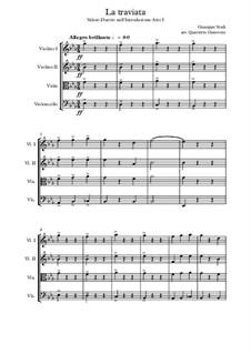 Fragmente: Act I, Valzer, for string quartet by Giuseppe Verdi