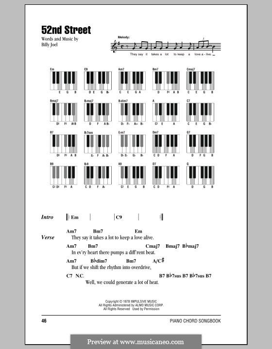 52nd Street: Texte und Akkorde by Billy Joel