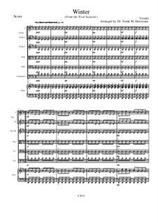 Violinkonzert Nr.4 in f-Moll 'Winter', RV 297: Movement I, for school string orchestra – score by Antonio Vivaldi