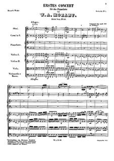 Konzert für Klavier und Orchester Nr.1 in F-Dur, K.37: Teil I by Wolfgang Amadeus Mozart