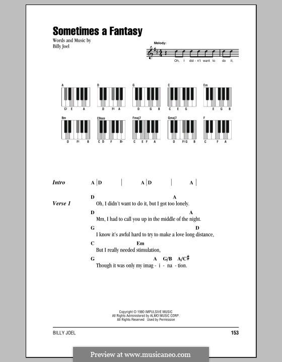 Sometimes a Fantasy: Texte und Akkorde by Billy Joel