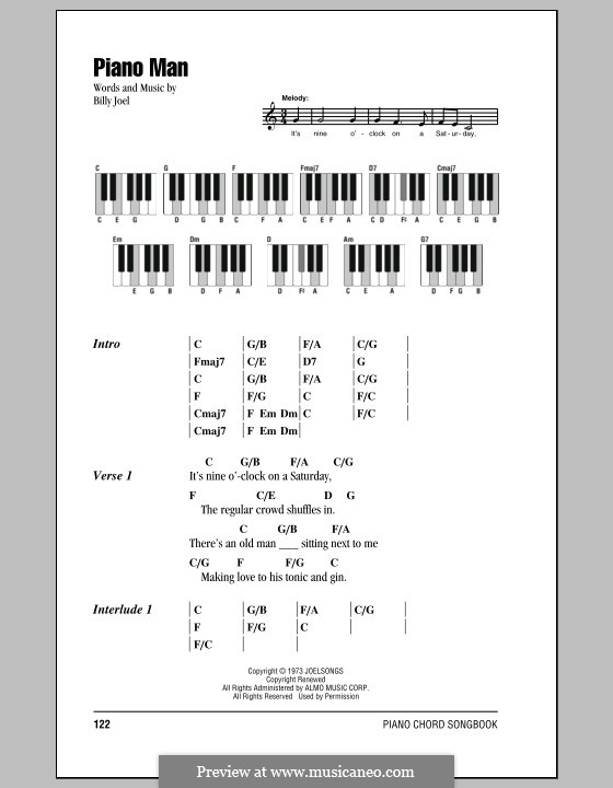 Piano Man: Texte und Akkorde by Billy Joel