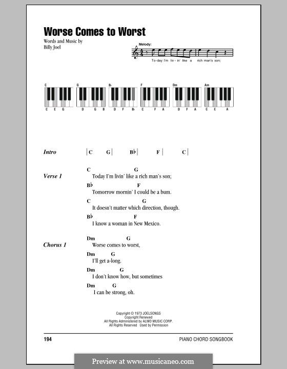 Worse Comes to Worst: Texte und Akkorde by Billy Joel