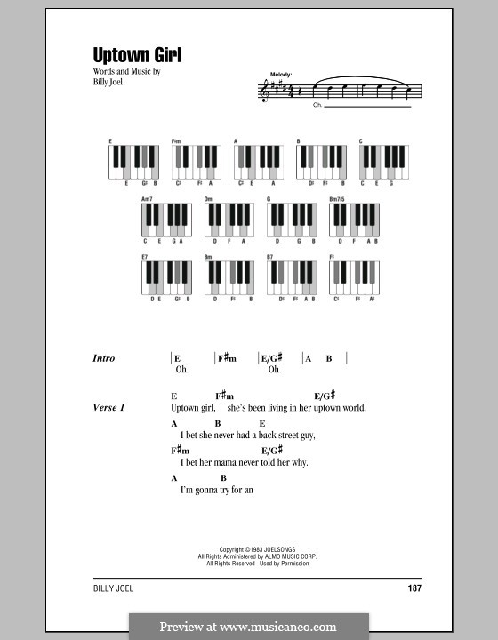 Uptown Girl: Texte und Akkorde by Billy Joel