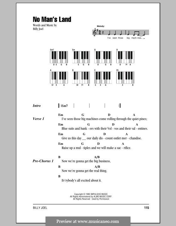 No Man's Land: Texte und Akkorde by Billy Joel