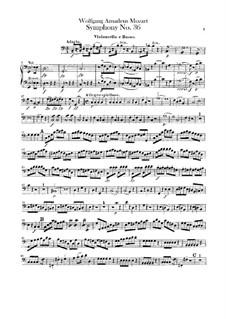 Sinfonie Nr.36 in C-Dur, K.425: Cello- und Kontrabass-Stimme by Wolfgang Amadeus Mozart