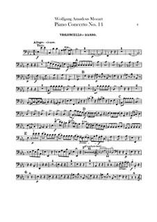 Konzert für Klavier und Orchester Nr.14 in Es-Dur, K.449: Cello- und Kontrabass-Stimme by Wolfgang Amadeus Mozart