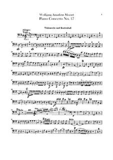 Konzert für Klavier und Orchester Nr.17 in G-Dur, K.453: Cello- und Kontrabassstimmen by Wolfgang Amadeus Mozart