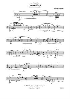 Sonorities for solo violoncello, B57: Sonorities for solo violoncello by Colin Bayliss