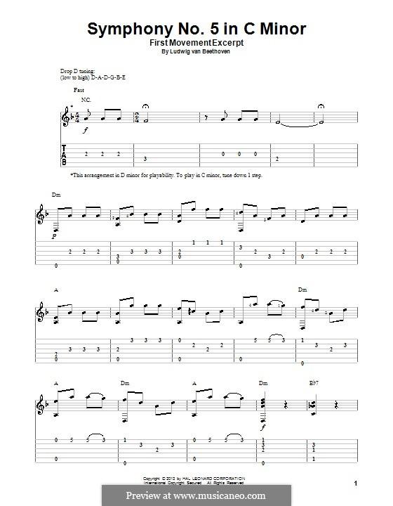 Teil I: Version für Gitarre mit Tab (Thema) by Ludwig van Beethoven