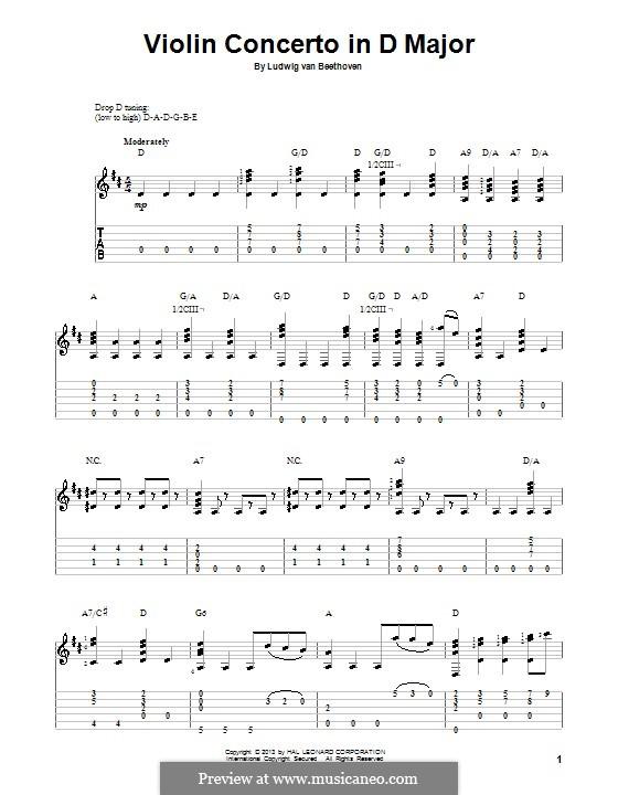 Konzert für Violine und Orchester in D-Dur, Op.61: Fragment. Version für Gitarre mit Tab by Ludwig van Beethoven