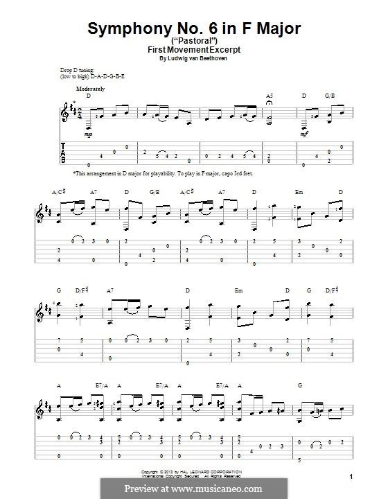 Teil I. Erwachen heiterer Gefühle bei der Ankunft auf dem Lande: Thema. Version für Gitarre mit Tab by Ludwig van Beethoven