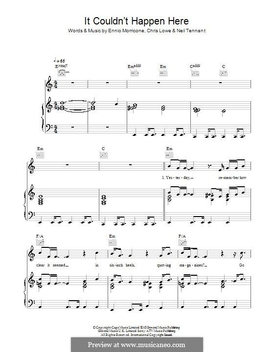 It Couldn't Happen Here (The Pet Shop Boys): Für Stimme und Klavier (oder Gitarre) by Chris Lowe, Ennio Morricone, Neil Tennant