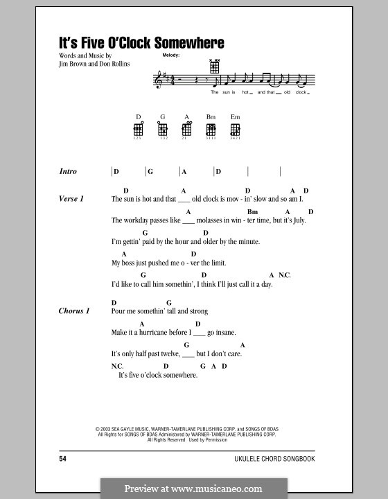 It's Five O'Clock Somewhere (Alan Jackson & Jimmy Buffett): Für Ukulele by Don Rollins, James Brown