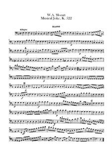 Ein Musikalischer Spass, K.522: Kontrabassstimme by Wolfgang Amadeus Mozart