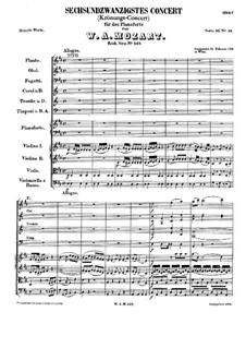 Konzert für Klavier und Orchester Nr.26 in D-Dur 'Krönungskonzert', K.537: Teil I by Wolfgang Amadeus Mozart