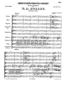 Konzert für Klavier und Orchester Nr.27 in B-Dur, K.595: Teil I by Wolfgang Amadeus Mozart