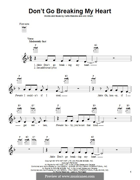 Don't Go Breaking My Heart (Elton John): Für Ukulele by Ann Orson, Carte Blanche