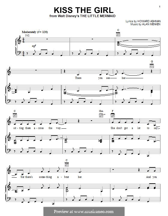 Kiss the Girl (from The Little Mermaid): Für Stimme und Klavier (oder Gitarre) by Alan Menken