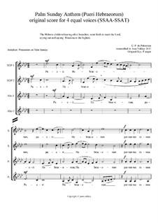 Pueri Hebraeorum: For SSAA voices by Giovanni da Palestrina