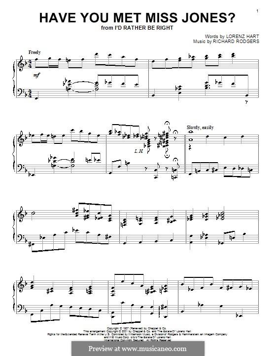 Have You Met Miss Jones?: Für Klavier by Richard Rodgers