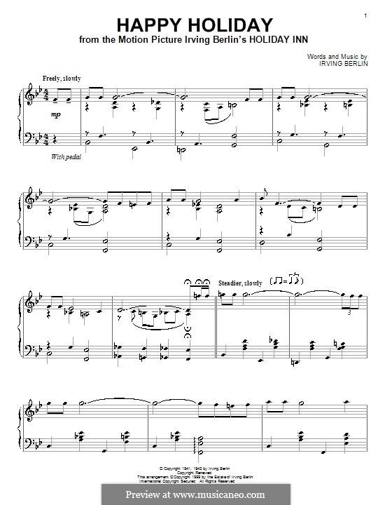 Happy Holiday: Für Klavier by Irving Berlin