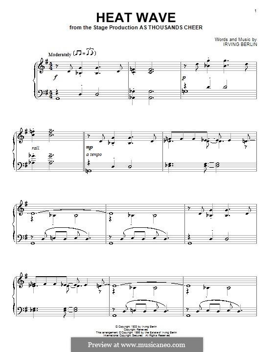 Heat Wave: Für Klavier by Irving Berlin