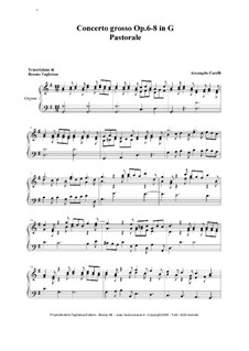 Concerto Grosso Nr.8: Christmas Pastorale, for organ by Arcangelo Corelli