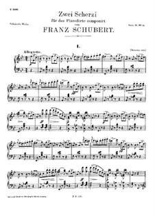 Zwei Scherzos für Klavier, D.593: Vollständiger Satz by Franz Schubert