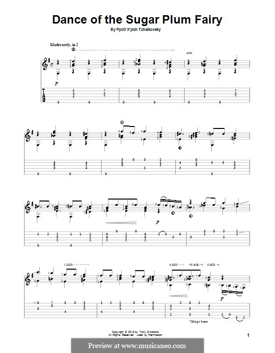 Nr.3 Tanz der Zuckerfee: Für Gitarre mit Tab by Pjotr Tschaikowski