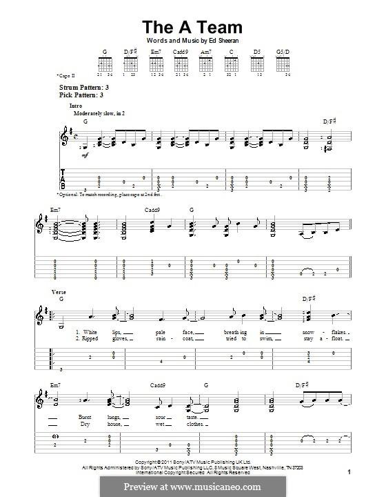 The a Team: Für Gitarre mit Tab by Ed Sheeran