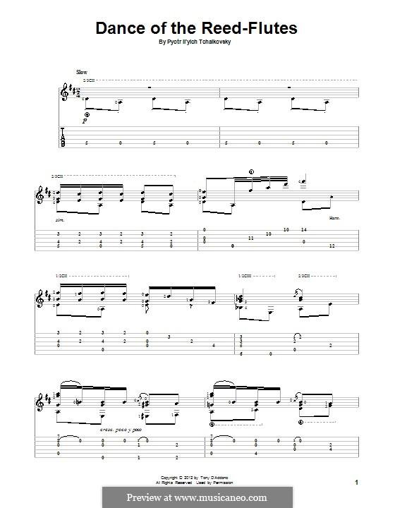 Nr.7 Tanz der Mirlitons: Für Gitarre mit Tab by Pjotr Tschaikowski
